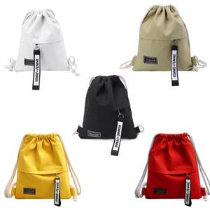 genç için okul sırt paketi için tuval İpli sırt çantası Okul Spor Tuval İpli Çanta Kanvas Depolama Paketi Sırt Çantası Kılıfı