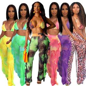 progettista costumi da bagno delle donne Tie Dye due pezzi Outfits ROSA Galaxy Stampa Mesh Bikini Swimsuit Anche se Halter Bra Top increspature splicing pantaloni S-XXL