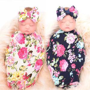 Nouveau-né bébé fille recevant Swaddle Blanket Set Bandeau 2 Pcs Sunsuit Toddler Enfants Coton Swaddle Couverture Bow Châle Chiffons Wrap