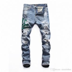 mens designer jeans Ripped Biker Jeans Slim Fit Motorcycle Biker Denim For Men Fashion Designer Hip Hop Mens Jeans designer pants