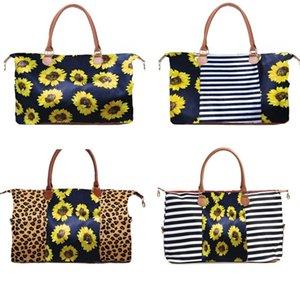 Sunflower Floral Leopard Duffel Bag Tote Patchwork Striped Handbag Weekenders Handles Big Sarah Double Travel Bag ZFJ547 Invij