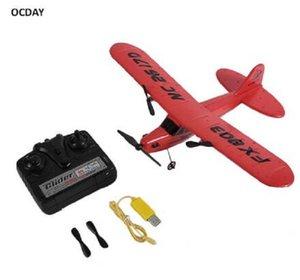 2020 Nueva OCDAY FX803 remoto aeroplano de la espuma del control RC planeador Aerodone juguete de los niños Audult 150m Rojo Azul Batería RC aviones no tripulados