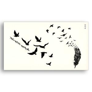 Siyah Dövme Çıkartma Çıkarılabilir Su Transferi Sahte Dövmeler Tek Kullanımlık Su Geçirmez Geçici Sticker Uçan Kuşlar Tüy