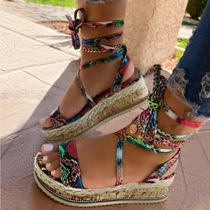 Le donne sandali delle signore di estate di modo casuale Spesso cinghia orizzontale inferiore sandali femminili Scarpe Tacco Beach più il formato M140 #