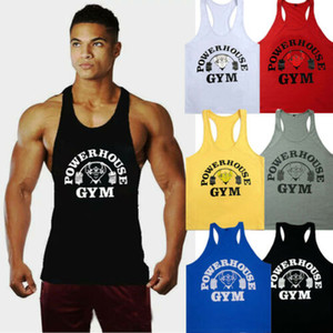 Men Pure Color Fitness-Baumwollweste Body Building Stringer Gym Tank Tops M-XXL