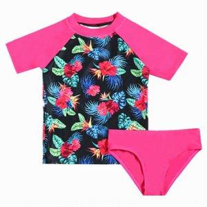 divisé pour enfants à manches courtes UPF50 + crème solaire filles de surf grand maillot de bain fille maillot de bain