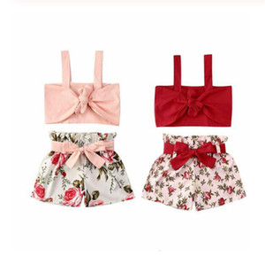 INS Summer kids baby girls shorts set two piece floral flowers clothing set crop tank vests with belt bow shorts tracksuit beach party D6416