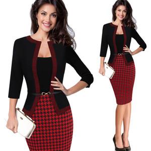 Hgte Womens Herbst Retro Faux Jacke einteiliges Polka Dot Kontrast Patchwork Wear Office Business Mantel Kleid Y19052901 zu arbeiten