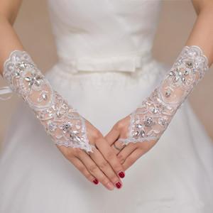 2019 luvas de noiva de renda curta luvas de casamento cristais frisados acessórios de casamento luvas de renda para noivas sem dedos abaixo do comprimento do cotovelo