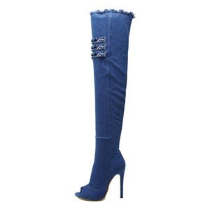 Venta caliente-2018 Nueva moda Mujer Hole Denim Tacones altos Botas sobre la rodilla Primavera Verano Sexy Peep Toe Muslo Botas altas Botas calientes WO177