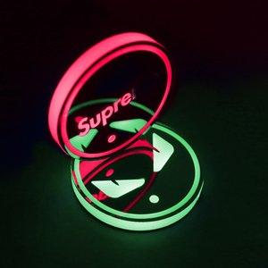 Автомобильного светодиодного Световых воды Нескользящего Мат двери Slot Мат Интерьер автомобиль Modified Atmosphere лампа встряхивание Sound