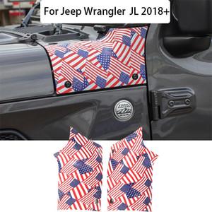 Capa ângulo de envolvimento encerado Cobertura Decoração Flag US Pointer Para Exterior Jeep Wrangler JL 2018+ Car Acessórios ABS Car Styling