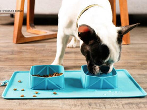 Собака миски Нерж.сталь пищи и воды собаки шара любимчика фидер собаки шара Портативный складной силиконовый шар