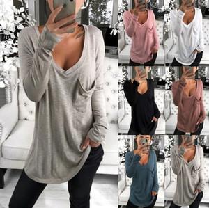 Los más vendidos Primavera Mujeres diario ocasional de las camisetas OL cuello en V profundo ropa de punto para mujer del color sólido de la manera atractiva de las tapas tapas flojas suéteres