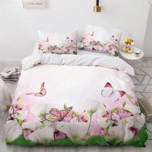 طقم فراش ثلاثي الأبعاد وضع غطاء فراشة ملكةمليءةملكةملكةقساس3pcs غطاء Set Blanket / Quilt Pillows Flowers butterly Bedclothes