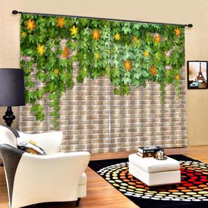 Beautiful Photo Fashion Customized 3D Curtains brown brick green leaf curtains blackout curtains