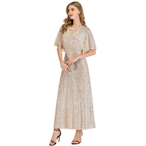 Champagne Bridesmaid Dresses V Neck Short Sleeve Ankle Length Sequined Long Wedding Guest Evening Party Gowns Maid of Honor Dress In Stock