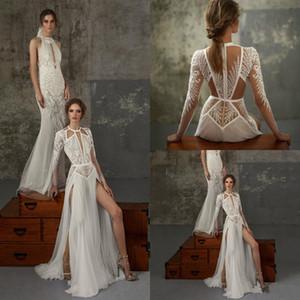 Lior Charchy Bohemian Wedding Dresses Lace Appliques Side Split Beads Beach Wedding Dress A Line Long Sleeve Robe De Mariée Boho Style 814