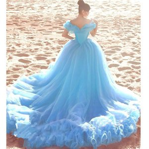 2020 New Sweet 16 Gowns Quinceanera Dresses with Rhinestones Off Shoulder Long Train Ruffle Tiered Light Sky Blue Ball Gowns Prom Dress