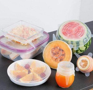 6pc Set Food Grade Fresh Cover Silicone Stretch Suction Pot Lids Fresh Keeping Wrap Seal Lid Pan Cover Kitchen Tools GGA3428-2