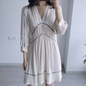 Women Dress Wedding Gown New V-neck Pleated Loose Casual Long Sleeve Mini Dress