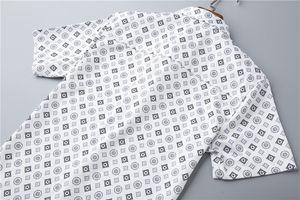 Hot Sell Classic Monogram Men Casual Shirt #001 Europe Paris Famous Fashion Flowers Business Summer Short sleeve Slim Fit Dress Shirt Medusa