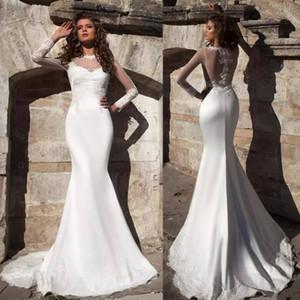 2020 Vintage Mermaid Wedding Dresses Jewel Neck Lace Appliques Long Sleeves Illusion Plus Size Bridal Gowns