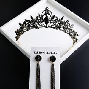 Siyah Kristal Gelin Takı Tiara Headpieces Taç Gelin Prenses Gelinlik 2019 Düğün Gelin Aksesuarları Için Taç Başlığı