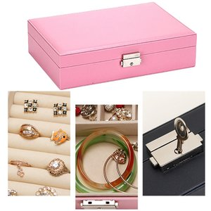 Jewelry organizer Box - Women Display Storage Case Large PU Leather Jewelry Holder with Lock for Earring Ring Necklace Bracelet