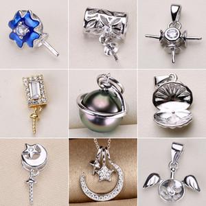 S925 Sterling Silver Pingente de Configurações Zircon Pearl Necklace Settings 16 Estilos de Moda Colar para As Mulheres Em Branco DIY Jóias