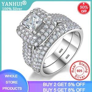 Yanhui Square Mujer circón cúbico anillos cristalinos del anillo de bodas de consigna Banda para niñas de novia Mujeres Ladys pares del amor Par Joya