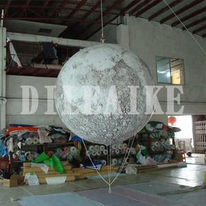 Kostenloser Versand Riese 2M Planet Ballon Werbung Mond-Kugel-LED-Licht Aufblasbare Mond-Ballon für Event Dekoration Ausstellung