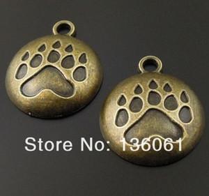 Vintage Bronze Dog Paw Imprimer Cameo Réglage Maison Tambour Bullet Tree Poker Cross Gear Or Ancre Charms Pendentifs Pour Bracelets