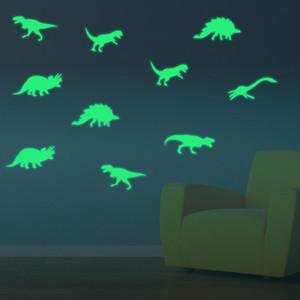 9pcs set 3D Creative Plastic Luminous Dinosaurs Wall Stickers Glow In Dark Dinosaurs Decorative Sticker for Baby Children Room