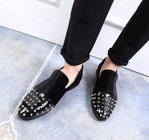 Rivet mode casual chaussures 37-48 surdimensionné noir beau styliste chaussures pour hommes de vente-2019 britanniques # 533941