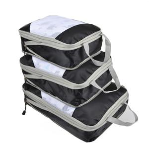 Designer-QINYIN Handy compression Cubes d'emballage 3pcs / set Voyage sac de rangement Organisateur Set Sacs Chaussures Bagages Vêtements Valise Organisateur