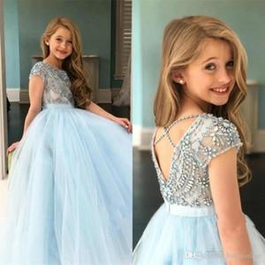 Prenses 2020 Mavi Kızlar Pageant Elbiseler Sheer Crew Boyun Tül Rhinestone Kristal Boncuk Glitz Topu Çiçek Kız Elbise