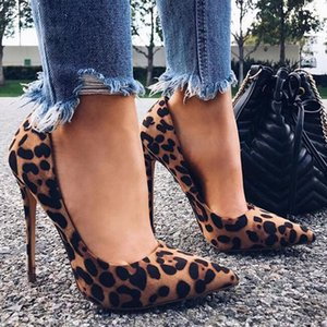 KAMUCC High Heels Shoes Women Pumps Flock Leopard Print Sexy Stilettos 10 12cm Party Heeled Designer Shoes Plus Big Size T200525