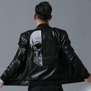 2020 새로운 패션 최신 도착 디자이너 블랙 재킷 남성 청바지 가죽 해골 재킷 의류 문자 인쇄 남성 겨울 코트 럭셔리