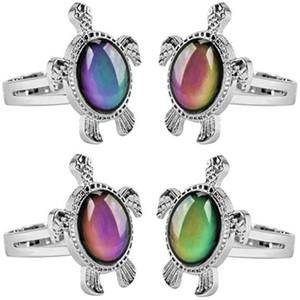 2019 europa anel de humor da moda coração de pêssego tartaruga pequena mudança de cor anel ajustável