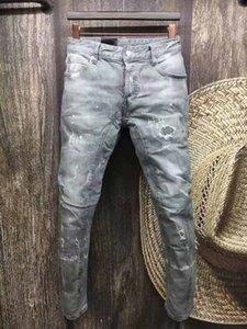 DSENQI NEW Men Jeans Zerrissene Jeans-Hosen für Biker Outwear Mann Hosen A111