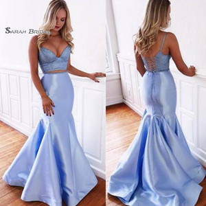 Mermaid Spaghetti Starps Backless Lace Up Sleeveless Prom Dresses Sweep Train Sexy Party Dress Hot Sales