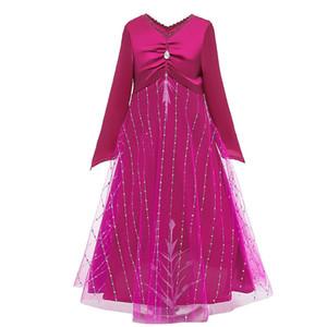 6 styleGirls Elza 2Evening prenses elbise Uzun Kollu Dantelli V Yaka Balo Elbise Çocuk doğum günü partisi Fantezi Kostüm damla nakliye