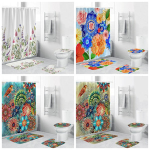 Acquazzone impermeabile Tende 3D fiore di stampa set da bagno Shower Curtain Set Shower Curtain igienici Mat Accessori 4pcs 50zh H1