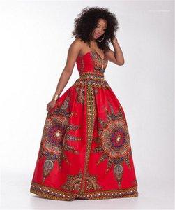 Kleider Sommer Sexy Damen Ärmel Verein-Kleid Red Strapless Digital Print Frauen Maxi
