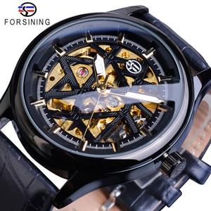 Forsining Black Golden Retro Luminous Hands Fashion Mens Mechanical Skeleton Leather Wrist Watches Top Brand Luxury Clock Montre