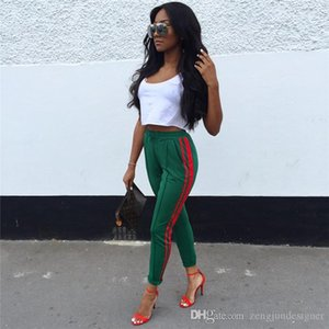 Pantaloni estate colore solido elastico in vita a righe Stampa femminile Abbigliamento sportivo Moda Abbigliamento Donna Casual Desinger