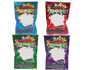 500MG Dank gélifiés Sac d'emballage Worms Sacs Edibles 500MG Comestibles ours Cubes Gummy Sacs Nerds corde Emballage