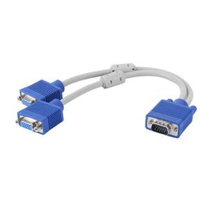 1000PCS 1 computador para Dual 2 monitor VGA Splitter Cabo de vídeo Y Splitter Duas portas VGA macho para cabo de fio linha de cabo 0.3m Feminino