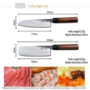 Damas -Steel -Cuisine -Knife -Définir Hacher Couteau Santoku de 7 pouces de Sharp Nakiri Cleaver main Couteau chef japonais Forged Set